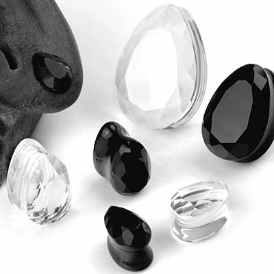 Faceted Glass Teardrop Plugs