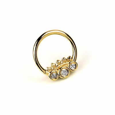 14K Solid Gold Tiara Seamless Ring with Genuine Diamonds
