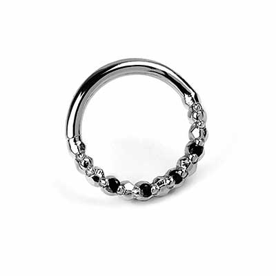 14K White Gold Seamless Ring with Black Diamonds
