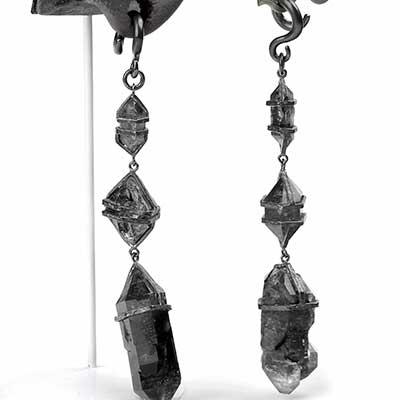 Oxidized Silver and Tibetan Quartz Dangle Weights
