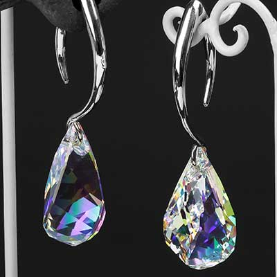 AB Swarovski Drop Crystal with White Brass Hooks