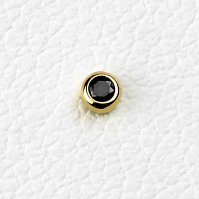 14k Yellow Gold Bezel Set Threadless End (Black Zirconia)