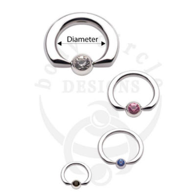 PRE-ORDER Steel Flat Tip Captive Ring With Gemmed Bead
