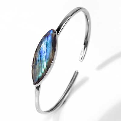 Silver and Labradorite Stone Bracelet
