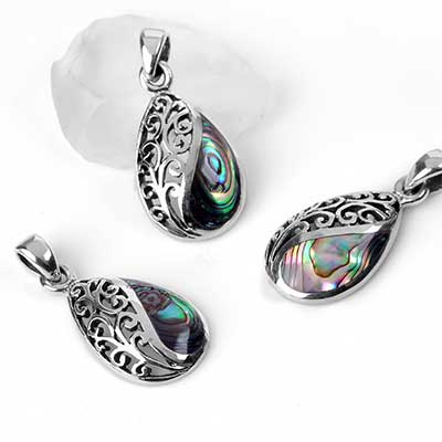 Silver Flourish and Abalone Shell Pendant