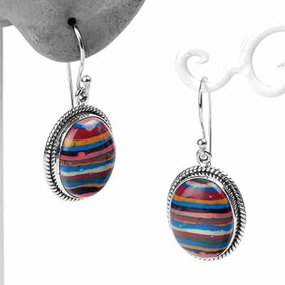 Silver and Rainbow Calsilica Dangle Earrings