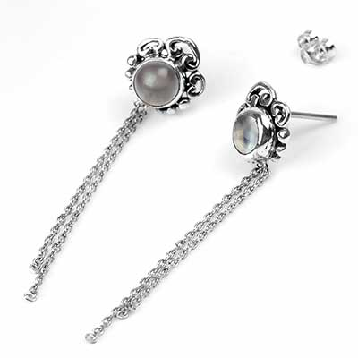 Moonstone and Chain Silver Stud Earrings