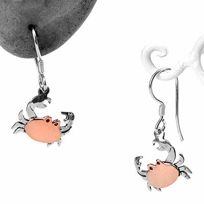 Silver and Copper Crab Earrings