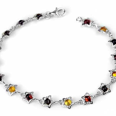 Silver and Amber Star Bracelet