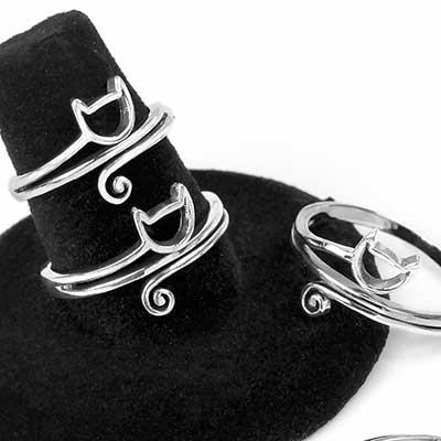 Silver Kitten Ring
