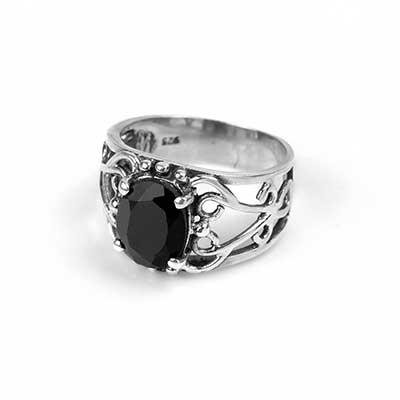 Ornate Silver Black Onyx Ring