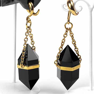 Solid Brass and Terminated Black Onyx Crystal Weights