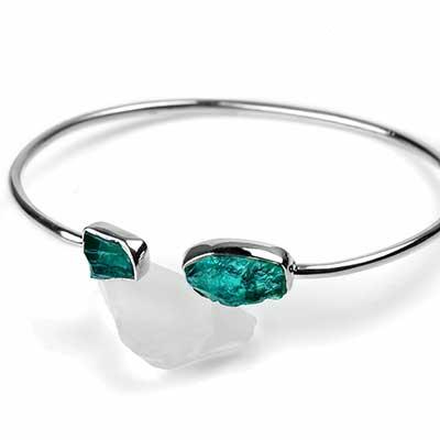 Silver and Blue Apatite Stone Bracelet