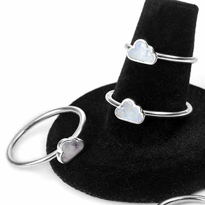 Silver and Rainbow Moonstone Cloud Ring