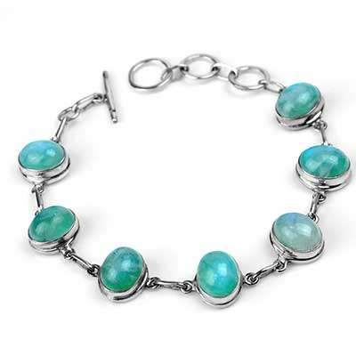 Silver and Green Moonstone Bracelet