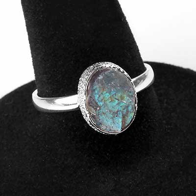 Silver and Natural Labradorite Ring