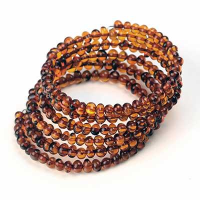 Spiral Amber Bead Bracelet