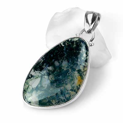 Silver and Moss Agate Pendant