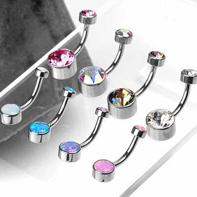 Titanium Gem and Opal Navel
