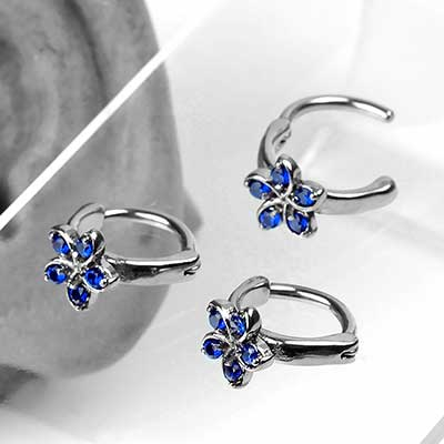 Side Set Blue Jewel Flower Clicker Ring