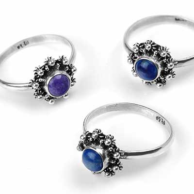 Beaded Flower and Stone Ring