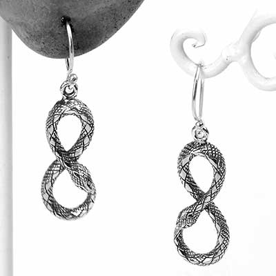 Silver Infinity Serpent Dangle Earrings