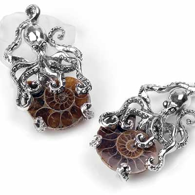 Silver Octopus and Ammonite Pendant