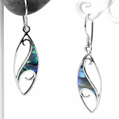 Silver and Abalone Wave Earrings