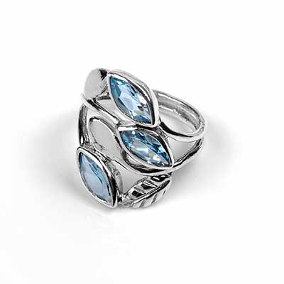 Silver and Blue Topaz Vine Ring