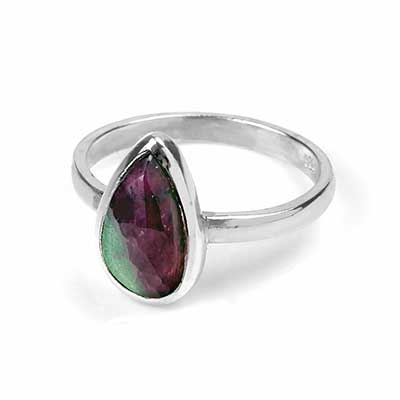 Ruby and Zoisite Silver Ring