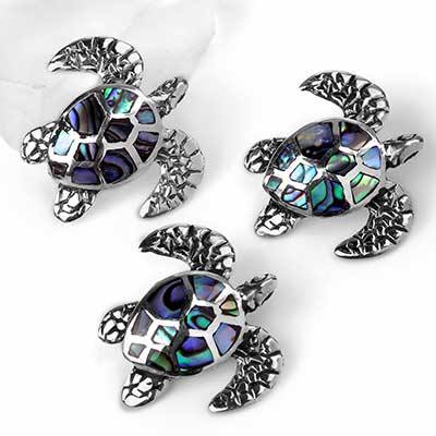 Silver and Abalone Shell Sea Turtle Pendant