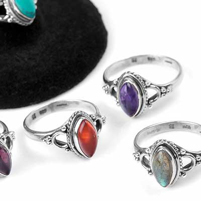 Ornate Silver and Marquise Stone Ring