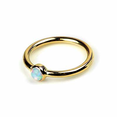 14K Gold Bezel Set Fixed Bead Ring