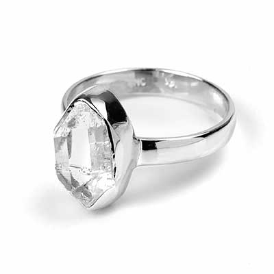 Silver and Herkimer Diamond Ring