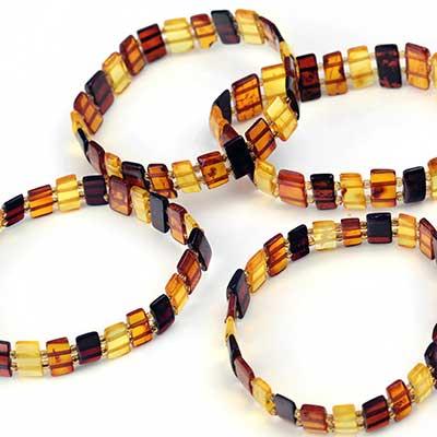 Rectangle Amber Bead Bracelet