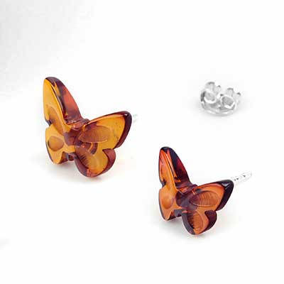 Silver and Amber Butterfly Earrings