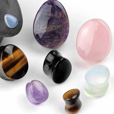 Stone and Glass Teardrop Plugs