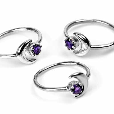 Sterling Silver and Amethyst Crescent Moon Ring