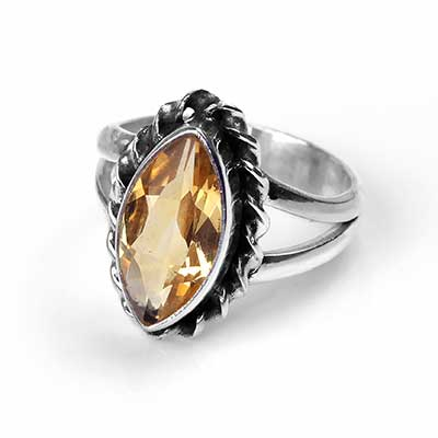 Silver and Citrine Gemstone Ring