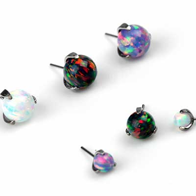 Prong Set Synthetic Opal Threadless End