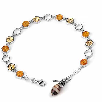 Honeycomb and Bee Amber Bracelet