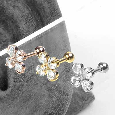 Four Leaf Clover Gem Barbell