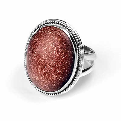 Silver and Goldstone Ring