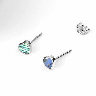 Silver and Shell Heart Stud Earrings