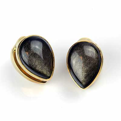 Solid Brass Spade Weights with Golden Obsidian