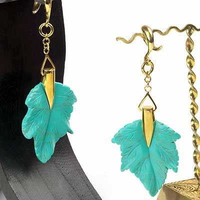 Solid Brass and Turquoise Maple Leaf Weights