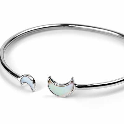 Silver and Mother of Pearl Moon Bracelet