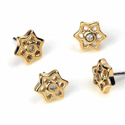 14K Gold Holo Flower Threadless End