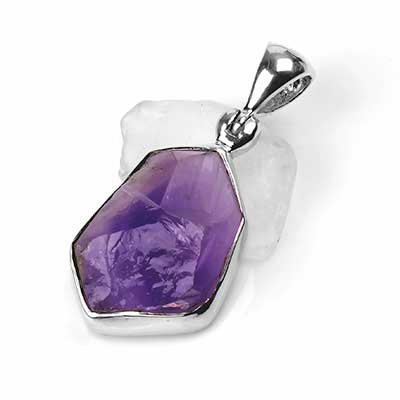 Silver and Natural Cut Amethyst Pendant