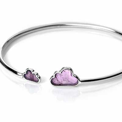 Silver and Amethyst Cloud Bracelet